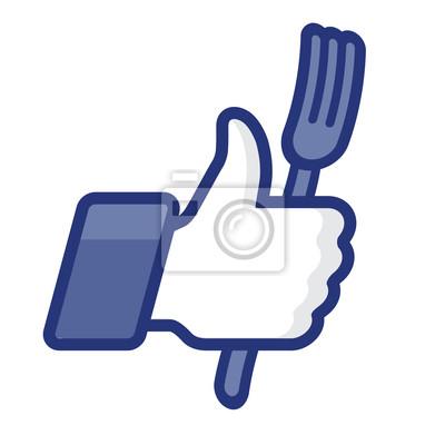 Thumbs Up Symbol Symbol mit Gabel