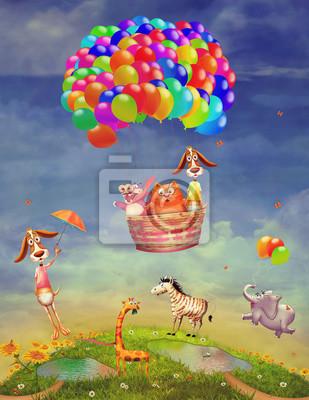 Tiere auf einem Feld und in einem Ballon in den Himmel