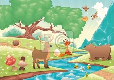 Tiere im Wald . Vektor-Landschaft, isolierte Objekte.