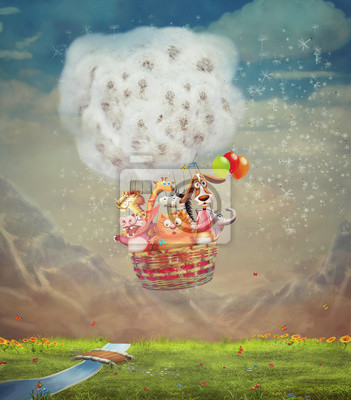 Tiere in der Luft Ballon über grüne Wiese in den Himmel