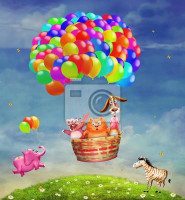 Tiere in einem Ballon in den Himmel