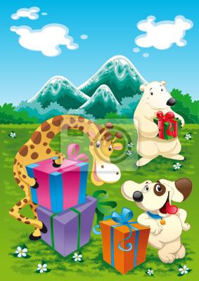 Tiere und Geschenke mit Hintergrund