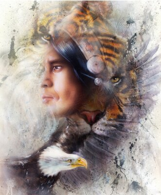 Bild Tiger mit Adler und indischen Krieger und Kopfschmuck Illustration. Tier-Tiere auf Malerei Hintergrund, Augenkontakt, weiße, schwarze und braune Farbe