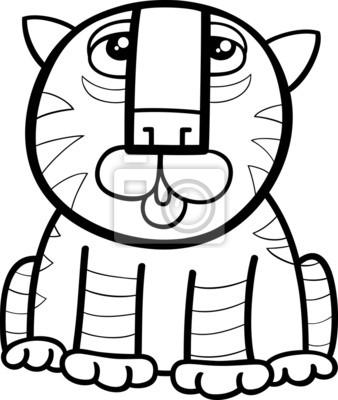 Tiger tier seite cartoon färbung leinwandbilder • bilder Färben ...