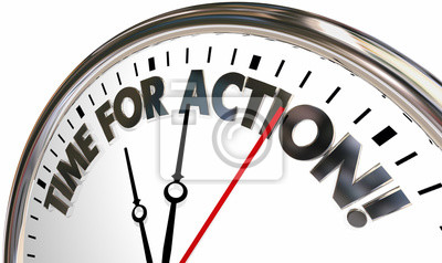 Bild Time for Action Take Control Now Clock Words 3d Illustration