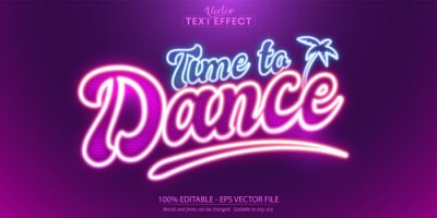Bild Time to dance text, neon style editable text effect