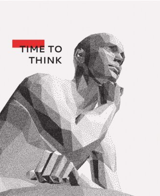 Bild Time to think. A man with his hand on his chin as though he was thinking. Artificial intelligence concept. Searching for answers. Your personal assistent. 3D vector illustration.
