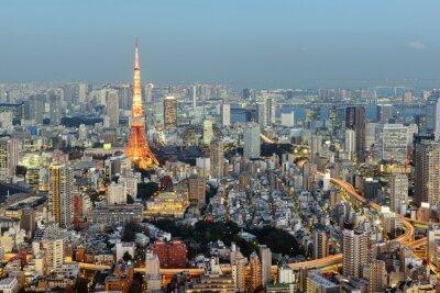 Bild Tokio; Japan - 14. Januar; 2016: Nachtansicht der Tokyo-Skyline mit dem ikonenhaften Tokyo-Kontrollturm im Hintergrund.