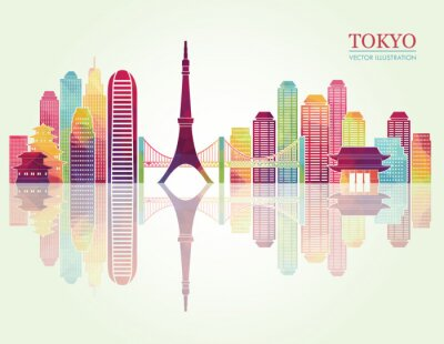 Bild Tokyo detaillierte Skylines. Abbildung