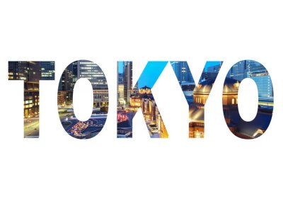 Bild Tokyo Stadt Namenschild mit Foto im Hintergrund. Isoliert auf weißem Hintergrund ..