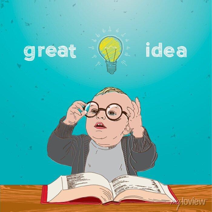 Bild Tolle Idee, Kind mit Buch und Lampe über seinem Kopf