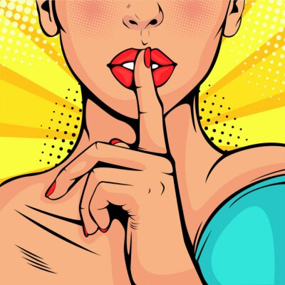 Bild Top secret silence girl. Beautiful woman put her finger to her lips, calling for silence. Colorful vector background in pop art retro comic style.