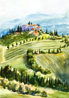 Bild Toscana landscape. Watercolor illustration