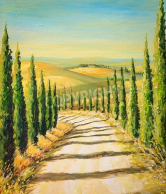 Bild Toskana: ländliche Landschaft mit Straße, Felder und Hügel.Bild erstellt mit Acrylfarben.