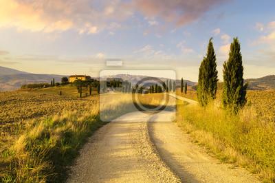 Toskana Landschaft Herbst Feld Einsamen Haus In Der Toskana