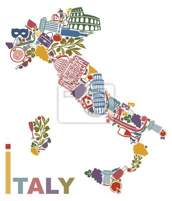Traditionelle Symbole von Italien in Form einer Karte