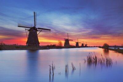 Bild Traditionelle Windmühlen bei Sonnenaufgang, Kinderdijk, Niederlande