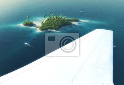Tragfläche eines Flugzeugs fliegen über tropischen Insel Paradies