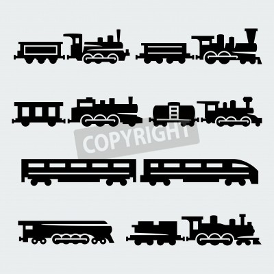 Bild trains silhouettes set