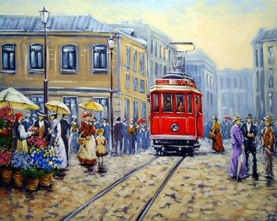 Bild Tram in der alten Stadt, Ölgemälde Landschaft
