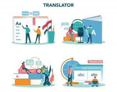 Bild Translator and translation service concept set. Polyglot translating