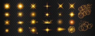 Bild transparent golden light flare and sparkles mega set