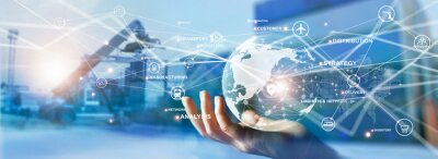 Bild Transport and logistics, Hand holding global network connection of logistics and cargo distribution goods