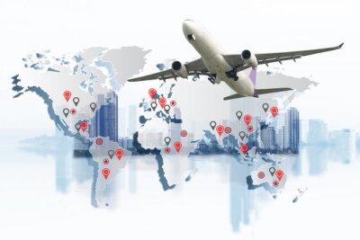 Bild Transport-, Import-Export- und Logistikkonzept, Container-LKW, Schiff im Hafen und Frachtfrachtflugzeug im Transport- und Import-Export-Logistikgeschäft, Speditionswirtschaft