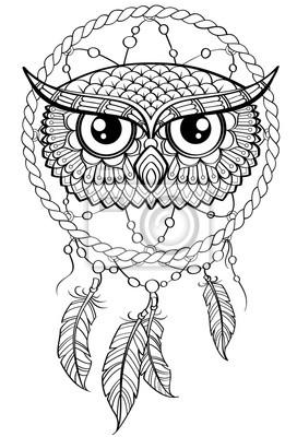 Traumfänger Mit Eule Tattoo Oder Erwachsene Antistress Malvorlage
