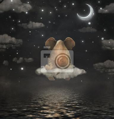 Trauriger Elefant, der auf Wolke am nächtlichen Himmel sitzt