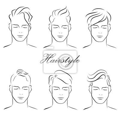 Trendige Frisuren Für Männer Skizze Vektor Leinwandbilder Bilder