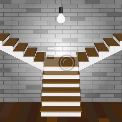Treppe Auf Zwei Seiten Aus Holz Grau Mauer Und Holzboden