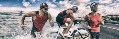 Bild Triathlon sport banner man running , swimming, biking for competition race background. Triathlete swim bike run composite.