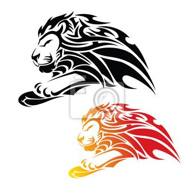 Tribal Tattoo Löwe im Sprung
