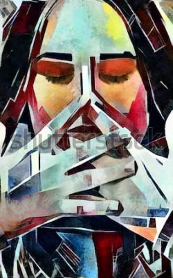 Bild Triptychonporträt eines Mädchens in der Kubismusart. Das Bild ist von Öl auf Leinwand mit Elementen der Pastellmalerei gemacht.