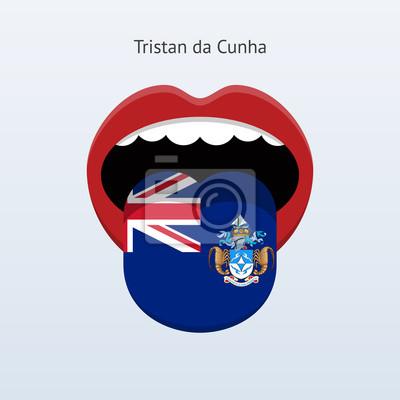 Tristan da Cunha Sprache. Abstrakt menschliche Zunge.