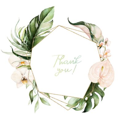 Bild Tropical exotic watercolor floral geometric frame. Green & gold leaves, blush flowers. For wedding stationary, greetings, wallpaper, fashion, background. Palm fern banana green leaves.