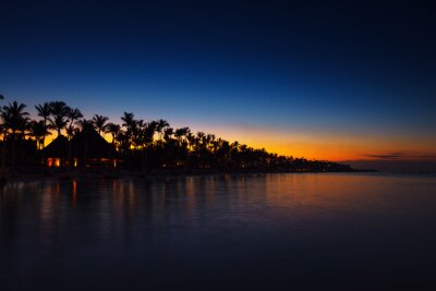 Tropical island at night. Palm trees silhouettes and lights on resort beach