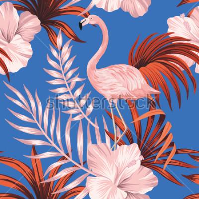 Bild Tropical vintage pink flamingo, red palm leaves floral seamless pattern blue background. Exotic jungle wallpaper.