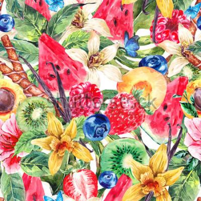 Bild Tropical Watercolor Natural Healthy Food Eco Seamless Pattern with Watermelon, Apricot, Kiwi, Vanilla and Berries, Nature Exotic Menu Fruits Pattern