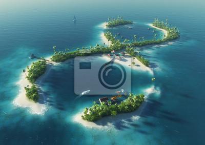 Tropische Insel in der Form von infinity sign. Endlose Vergnügen