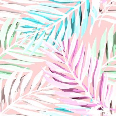 Bild Tropische Palmblätter Muster. Trendiges Druckdesign mit abstraktem Dschungellaub Exotische nahtlose Hintergrund. Vektor-Illustration