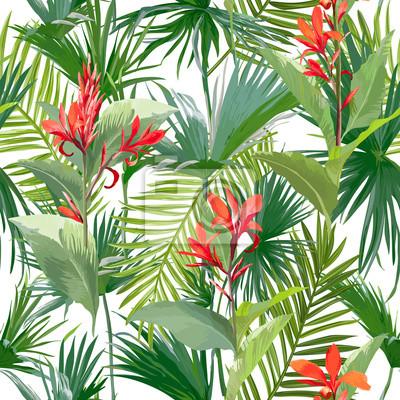 Tropische Palmen Blatter Und Blumen Dschungel Blatter Nahtlose