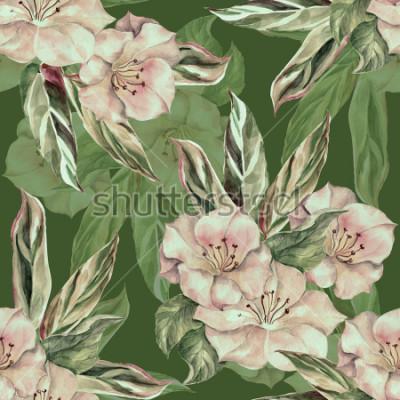 Bild Tropisches Muster des Aquarells auf einem dunkelgrünen Hintergrund. Handarbeit nahtlose Muster.