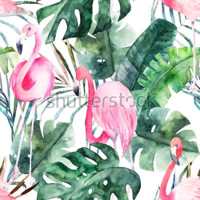 Bild Tropisches nahtloses Muster mit Flamingo und Blättern. Aquarell Sommerdruck. Exotische Hand gezeichnete Illustration