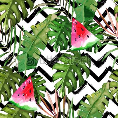 Bild Tropisches nahtloses Muster. Palmeblätter und Wassermelone. Hand gezeichnete Abbildung. Sommer Hintergrund Aquarell-Stil