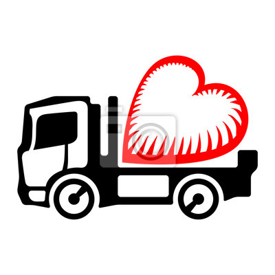 Truck icon with a heart symbol on the platform body