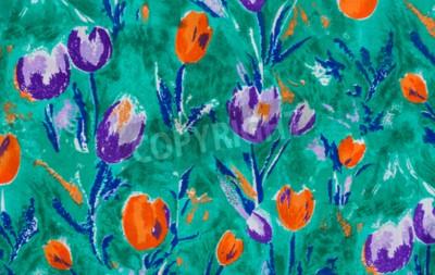 Bild Tulip print Stoff close up Hintergrund.
