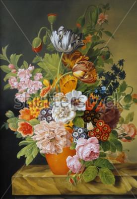 Bild Tulpen und Rosen in einer alten Vase. Mohnblumen, Veilchen, Kamille, Gänseblümchen. Malerei. Stillleben.
