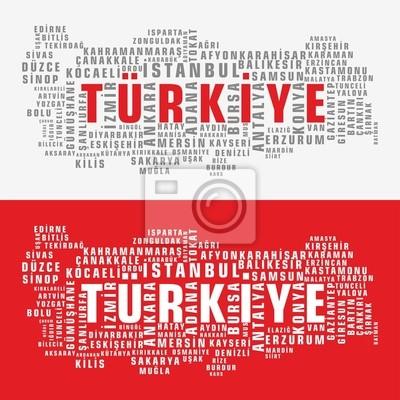 Türkei-Staatskarte Vektor Tag Cloud 2